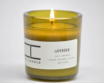 Soy Candle Lavender Scented Soy Candle Vintage Green Glass Soy Candle Handmade