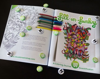 Fill-in-Funky Coloring Journal, 12 pages, hand-signed by Artist