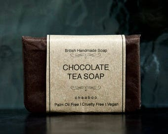 Vegan CHOCOLATE Tea Soap Palm oil free , Allergy Free Handmade Natural Soap by chaaboo