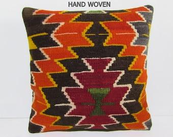 20x20 kilim pillow 20x20 boho chic pillow large pillow case gypsy pillow cover large kilim pillow throw pillow couch orange pillow rug B1692