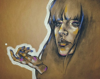 Laudes- Original pastel and charcoal on brown paper, portrait of a woman with hand