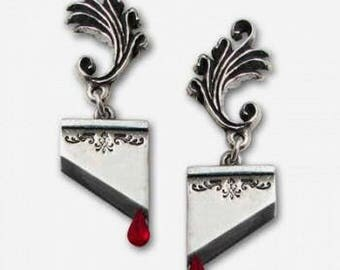 Gothic  Guillotine Earrings ~ with blood red Swarovski crystal droplets
