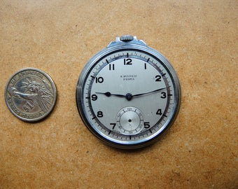 Antique Steampunk art ready Swiss made Pocket Watch Silver Tone Body Case Assemblage Industrial art steampunk supply / Watch parts  Pw64a