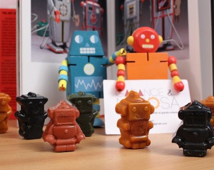 Lot robots 6 crayons en cire bio et vegan