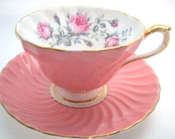 Aynsley Tea Cup and Saucer,  Aynsley floral tea cup and saucer, Swirled tea cup and saucer with pink roses.