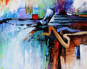 Abstract Art Fine Art Print  •  Contemporary Painting Reproduction • LEARNING to be the ONE with BLUE •  Modern Art Painting