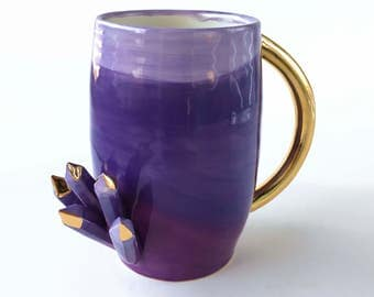 CRYSTAL MUG by Modern Mud, Amethyst Crystal Mug, Purple Mug, Gold Mug