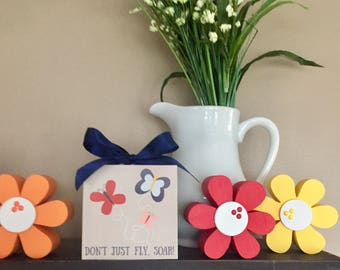 Don't Just Fly... Soar! Butterflies (White) 4x4 Wood Block