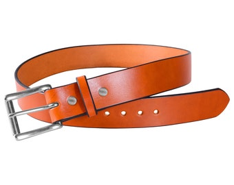 "Men's Leather Belt, Tan Full Grain Bridle Leather, 1 1/2"" Wide, Stainless Steel Roller Buckle"