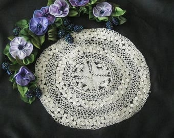 Antique Hand Made Small Silk Lace Maltese Doily - Off White