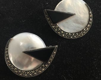 Pair of Sterling,marquesite and mother of pearl clip on button earrings,circa 1980