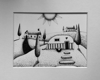 Whimsical Glamping, pen and ink whimsical landscape, original art, whimsical pointillism, black and white art.