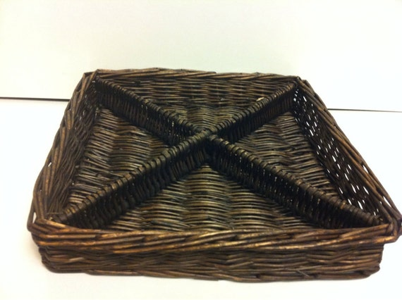 Rare Wicker Basket Rustic Black Divided Serving Tray Vintage