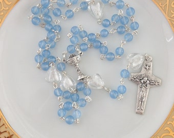 Blue Rosary, Christening Gift, Baby Gift, Baptism Gift, First Communions, Confirmation, Gift for Him, Baby Boy Gift, Baby Shower Gift