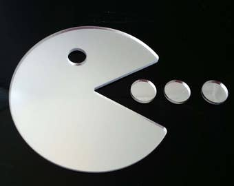 Hungry Man (Pac Man Style Mirror) - Silver Acrylic Mirror in several Sizes