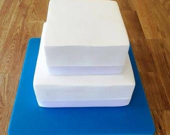 "Square Cake Board, Bright Blue Gloss Finish 3mm Acrylic, Sizes  7"", 9"", 11"", 13"", 15"" & 17"""