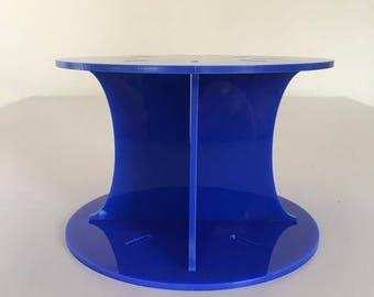 "Plain Round Blue Gloss Acrylic Cake Pillars / Cake Separators, for Wedding / Party Cakes 10cm 4"" High, Size 6"" 7"" 8"" 9"" 10"" 11"" 12"""