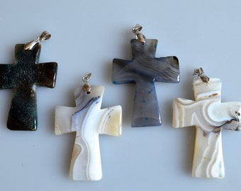 Agate GemStone Cross Pendant Neutral White and Gray Color Size Approx.  52x36x6mm