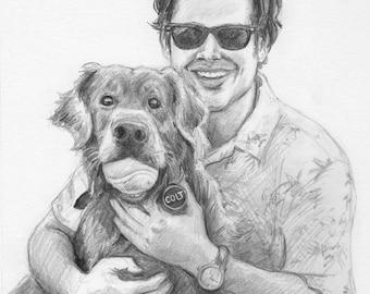Custom Pet and Master Portrait Sketch