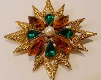 Mid Century Rhinestone And Faux Pearl Brooch