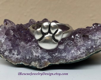 Paw Print Ring in Sterling Silver
