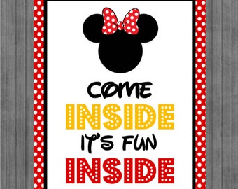 Mouse Birthday Sign, Come Inside its Fun Inside, Red, Yellow