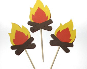 12 Camp Fire Cupcake Toppers Die Cut - Select a Color - food Picks - Party Decor - Birthday Party - camping Party -