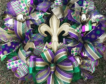 XXL Mardi Gras Deco Mesh Multi Textured  25x29  Wreath with Harlequin Fleur de Iis or Gold Fleur de Lis