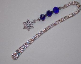Cobalt Blue Silver Star of David Bookmark