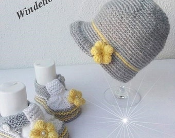 Baby set Hat shoes grey yellow