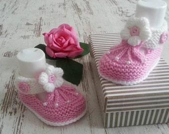 Knitted baby shoes baby shoes baby shoes pink grey hand made