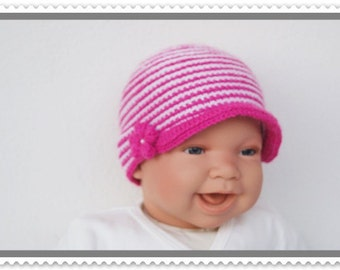 Baby Hat new born Hat pink/white shield