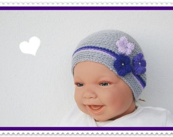 Baby hat of new born Hat purple lilac grey with crochet flower