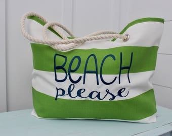 Greenery Bag - Stripe Beach Bag - Personalized Tote - Wedding Party Gifts - Bridesmaid Gift - Monogram Beach Bag - Mother's Day Gift