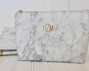 Personalized Marble Bag | Marble Clutch | Marble Toiletry Bag | White Marble | Black Marble| Bridesmaid Gift | Mother's Day Gift |