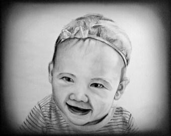 Custom Family Portrait, Custom Child Portrait, Sketch from Photo, Baby Portrait, Custom Drawing, Kids Portrait, Pencil Sketch from Photo