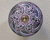 CZECH GLASS BUTTON: 18mm Handpainted Czech Glass Scallop Flower Button, Pendant, Cabochon (1)