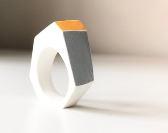 GEO Ring, geometric cast ring, grey and citrus orange, gift for her, geometric jewellery