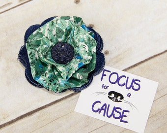 Denim with Green Floral Dog Collar Accessory, Flower Collar Accessory, Harness Flower, Fabric Flower, by Focus for a Cause