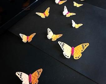 Butterfly Decal, 3D Wall decor, baby Nursery, Party decor, Wedding Decor, Orange, Shiny decal, glittery, window display, cutout butterflies