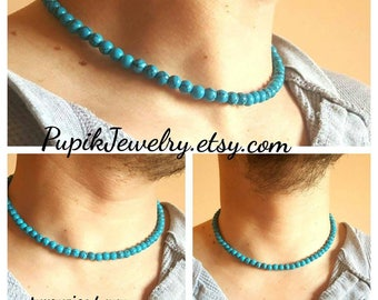 TURQUOISE NECKLACE,CHOKER,Necklace for Men Women,Men's Jewelry,Men's Beaded Necklace,Mens Choker,Long Necklace,Men's Beaded Necklace