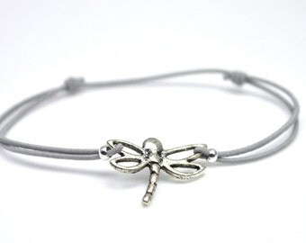 Dragonfly bracelet gray cord