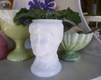 Milk glass lady's head vase