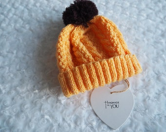 hand knitted baby hat/cable knit baby hat/beanie hat/hand knitted wool hat/hand knitted cable hat/chunky knit hat/wool hat/baby pom pom hat.