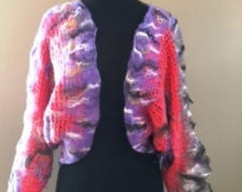 Coral Cotton Lace Nuno Felted Bolero Handmade by CID Textile Art