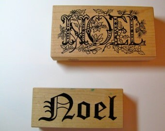 Set of Noel  Red Rubber Wood Mounted  Stamps    PSX  K-1624  Holly  Berries and  Noel in Plain Script (Stampa Rosa)   Used