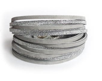 Leather bracelet silver and grey cuff bangle