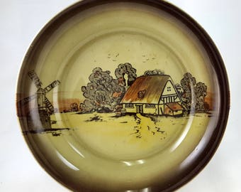 Newport Pottery Countryside Cottage Windmill Vegetable or Soup Bowl 1920s Burslem England