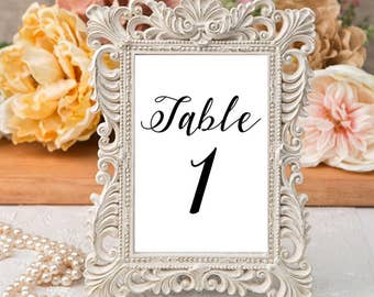 Printable Table Number Cards - Classic Black and White Wedding Table Numbers Printable - Number 1 to 20
