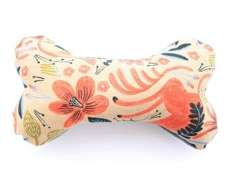 Limited Edition Rifle Paper Folk Horses Dog Bone Toy Squeaker Chew Toy Gift